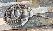 Mala 108 Perlen Kette Ganesha Lotus Bergkristall Holz Mala Halskette