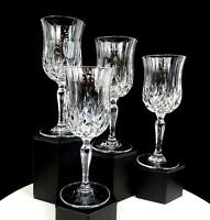 "ROYAL CRYSTAL ROCK ITALY OPERA PATTERN CROSS CUTS PANELS 4PC 7 1/2"" GOBLETS 1997"