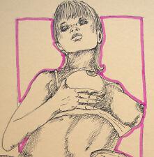 Originale Grafik Akt Zeichnung Nude Sm Bdsm Erotik Bondage Art Fotokarton A4