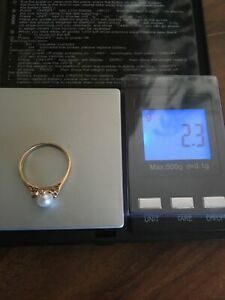 9ct Gold Scrap Or Wear Pearl Ring Hallmarked