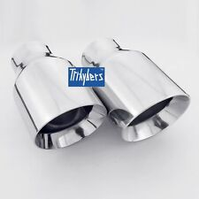 "2.5"" inlet 4"" outlet dual wall slanted round exhaust tips for Lexus IS250 IS350"