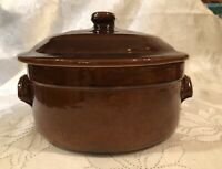 Vintage Grespots Digoin Covered Baking Dish  No. 1 Brown Made in France - UNOX
