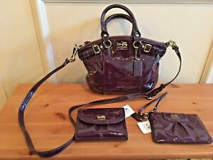 Coach Madison Patent Leather Sophia Purse With Wallet And Wrist Bag New With Tag