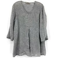 Flax Womens Small Linen 3/4 Sleeve Tunic V-neck Pleat Top Lagenlook
