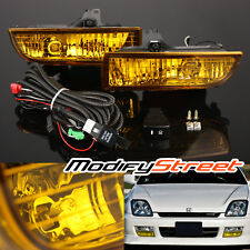 For 97-01 HONDA PRELUDE JDM YELLOW GLASS LENS FOG LIGHTS DRIVING BUMPER LAMPS
