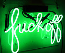 "12""x9""Fvck Off Neon Sign Light Home Room Decor Beer Bar Pub Wall Poster Handmade"