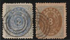 Denmark 1870 2 GOOD USED STAMPS 2sk - 8sk SG38 - SG46
