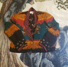Vtg Platinum Dorothy Schoelen Rayon Blazer Jacket M Equestrian Horse art Boho