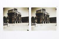 Arco Di Carosello Parigi Francia Foto Stereo T2L1n8 Placca Da Lente Vintage