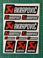 Planche 12 stickers set AKRAPOVIC stickers pegatina moto bike exhaust decals