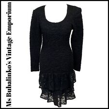 Size 6 Vintage Bodycon Mini Dress 80s Black Textured Stretch RaRa Lace Prom Hen