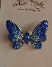 Blue Crystals In Silver Tone Kirks Folly Butterfly Pin Royal