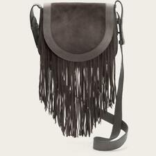 NEW Authentic Frye Ray Fringe Saddle Crossbody Bag - Grey Leather/Brown Suede