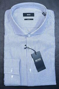 Hugo Boss Men's Jason Slim Fit Finest Italian Fabric Striped Dress Shirt 42 16.5