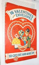 Vintage Valentine Book 16 Valentines & Envelopes To Cut Out And Make Up
