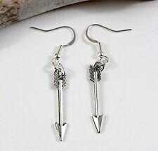 Arrow Charm Earrings - Dangle Drop Silver tone Kitch Jewellery Archer