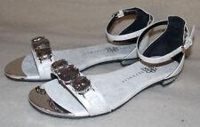 Women's Rock & Republic Silver & White Rhinestones Flat Dress Sandal Shoes  6