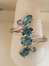 Elongating London Blue Topaz Ring with Tanzanite Accent Stones