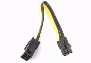GPU PCI-E 6 Pin Male To 6 Pin Female Power Extension Cable Adapter 18 AWG 20CM
