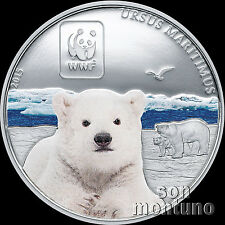 2015 Central African Republic POLAR BEAR Colorized Silver Plated COPPER Coin WWF