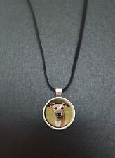 """Whippet Dog Pendant On a 18"""" Black Cord Necklace Ideal Birthday Gift N61"""