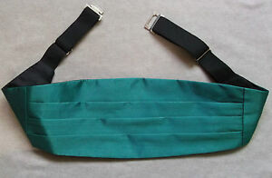 "Cummerbund Mens Pleated Vintage Sash SILKY SHINY JADE GREEN UP TO 44"" WAIST"