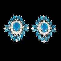Oval Blue Fire Opal 7x5mm Neon Blue Apatite Cz 925 Sterling Silver Earrings