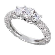 Cubic Zirconia 3-Stone Engagement Ring Sterling Silver Vintage Style Round