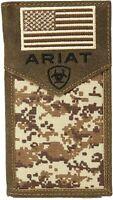 Ariat Mens Leather Sport Digital Camo Patriot Rodeo Checkbook Wallet (Brown)