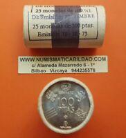 CARTUCHO FNMT 100 PESETAS 1980 * 19-80 SC ESPAÑA 25 monedas SIN CIRCULAR TACO