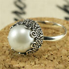 Elegant 925 Silver Round Pearl Ring Wedding Bridal Women Jewelry Gifts Size 6-10