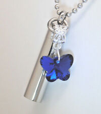 Blue Butterfly Cremation Urn Necklace in 316L Stainless Steel || Engraveable