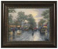 Thomas Kinkade Carmel, Sunset Ocean Avenue 16 x 20 Brushstroke Vignette (Framed)