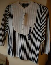 Chaps Black/White Striped 3/4 Sleeve Cotton C-Casual Knit Top. Sz S