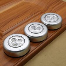 3LED Touch Nachtlicht Haus Kabinett Auto Tap Stick On Batteriebetriebene Lampe0U