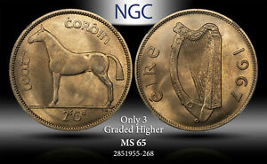1967 IRELAND 1/2 CROWN / 2 SCILLING NGC MS65 ONLY 3 GRADED HIGHER #F TONED