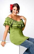 Carmenshirt Gr.44/46 Tunika Perlen Spitze Schulterfrei Damen XXL übergröße grün