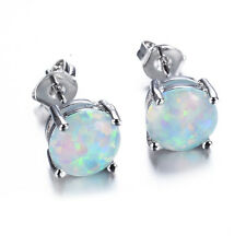 Sweet Round White Fire Opal Silver Plated Ear Stud Earrings Women's Jewellery