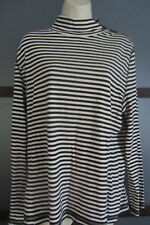 TOMMY HILFIGER Black White Striped Nautical Knit LS Shirt Top XL 1X 14 16