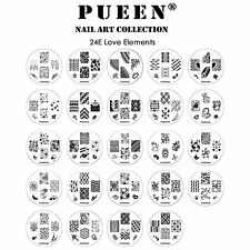 PUEEN 24 Nail Art LOVE ELEMENTS 24E Image Plate Stamping Collection Set 24E