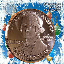 """George Washington with Santa Hat"" 1oz .999 Copper round with Tree Back"