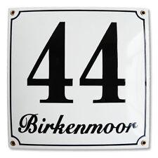 Hausnummer Hausnummernschild Emaille 25x25 cm mit Wunschstraßennamen und Nummer