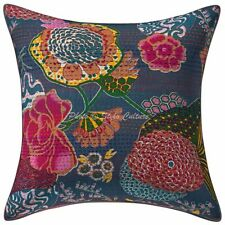 Indian Cotton Throw Pillow Decorative 18x18 Kantha Tropicana Cushion Cover