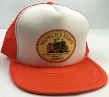 Trucker Snapback Hat Orange & White Mesh Ankeny Iowa 1999 Farm Equipment Expo