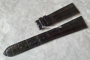 Genuine OEM Patek Philippe 22/16mm Black Shiny Alligator Leather Strap Size XL