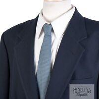 ORVIS Mens Navy Blue Blazer Sz 42 in Wool Brass USA Made Sport Coat