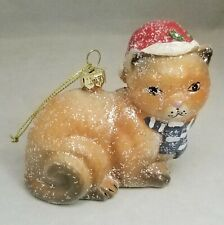 """Brown Cat in Santa Hat Christmas Glitter Acrylic Ornament 4"""" Gift"""