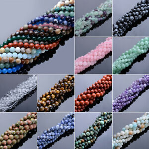 """15"""" Natural Gemstone 4/6/8mm Round Beads for DIY Bracelet Necklace Jewelry"""