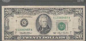 1993 (G) $20 Twenty Dollar Bill Federal Reserve Note Chicago Vintage Currency