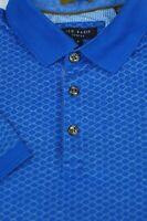Ted Baker Men's Jewel Blue Geometric Cotton Luxury Polo Shirt M Medium